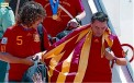 Xavi y Puyol celebrando Copa Mundial